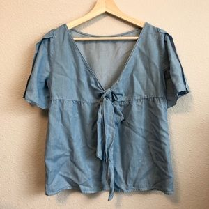 Tie back chambray blouse